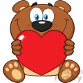 10678 Royalty Free RF Clipart Smiling Brown Teddy Bear Cartoon Mascot Character Holding A Valentine Love Heart Vector Illustration