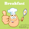 10967 royalty free rf clipart chef egg cartoon mascot character showing thumbs up and holding a frying pan with food vector with green halftone background breakfast gif, png, jpg, eps, svg, pdf