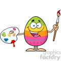 10949 Royalty Free RF Clipart Happy Colored Easter Egg Cartoon Mascot Character Holding A Paintbrush And Palette Vector Illustration