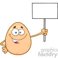 10971 Royalty Free RF Clipart Talking Egg Cartoon Mascot Character Holding A Blank Sign Vector Illustration
