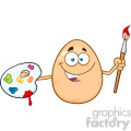 10975 Royalty Free RF Clipart Smiling Egg Cartoon Mascot Character Holding A Paintbrush And Palette Vector Illustration