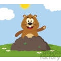 10644 royalty free rf clipart happy marmmot cartoon mascot character waving in groundhog day vector flat design with background gif, png, jpg, eps, svg, pdf