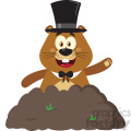 10646 Royalty Free RF Clipart Happy Marmmot Cartoon Mascot Character With Cylinder Hat Waving In Groundhog Day Vector Flat Design