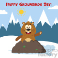 10643 royalty free rf clipart happy marmmot cartoon mascot character waving in groundhog day vector flat design with background and text happy groundhog day gif, png, jpg, eps, svg, pdf