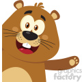 10635 Royalty Free RF Clipart Cute Marmot Cartoon Mascot Character Waving From Corner Vector Flat Design