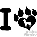10711 Royalty Free RF Clipart I Love With Black Heart Paw Print With Claws And Dog Silhouette Logo Design Vector Illustration