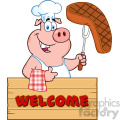 10722 Royalty Free Clipart Chef Pig Cartoon Mascot Character Holding A Cooked Steak On A Bbq Fork Over A Wooden Sign Giving A Thumb Up Vector With Text Welcome