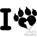 10712 royalty free rf clipart i love with black heart paw print with claws and dog head silhouette logo design vector illustration gif, png, jpg, eps, svg, pdf