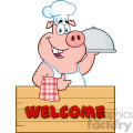 10718 Royalty Free RF Clipart Chef Pig Cartoon Mascot Character With A Cloche Platter Over A Wooden Sign Giving A Thumb Up Vector With Text Welcome