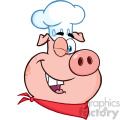 10729 Royalty Free RF Clipart Winking Chef Pig Cartoon Mascot Character Vector Illustration