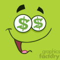 10860 Royalty Free RF Clipart Cartoon Funny Face With Dollar Eyes And Smiling Expression Vector With Green Background