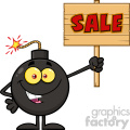 10805 royalty free rf clipart smiling bomb cartoon mascot character holding a wooden sale sign vector illustration gif, png, jpg, eps, svg, pdf