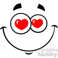 10869 Royalty Free RF Clipart Smiling Love Cartoon Funny Face With Hearts Eyes And Expression Vector Illustration