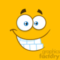 10876 Royalty Free RF Clipart Smiling Cartoon Funny Face With Smiley Expression Vector With Yellow Background