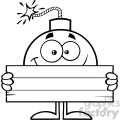 10786 Royalty Free RF Clipart Black And White Smiling Bomb Cartoon Mascot Character Holding Wooden Blank Sign Vector Illustration