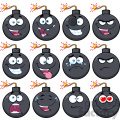 10836 Royalty Free RF Clipart Bomb Face Cartoon Mascot Character With Emoji Expressions Vector Illustration