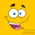 10885 Royalty Free RF Clipart Happy Cartoon Square Emoticons With Smiling Expression Vector With Yellow Background