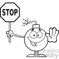 10782 royalty free rf clipart black and white cute bomb cartoon mascot character gesturing and holding a stop sign vector illustration gif, png, jpg, eps, svg, pdf