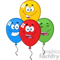 10774 Royalty Free RF Clipart Happy Four Colorful Balloons Cartoon Mascot Character With Expressions Vector Illustration