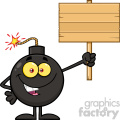 10804 Royalty Free RF Clipart Smiling Bomb Cartoon Mascot Character Holding A Wooden Blank Sign Vector Illustration