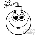 10819 Royalty Free RF Clipart Black And White Smiling Love Bomb Face Cartoon Mascot Character With Hearts Eyes Vector Illustration