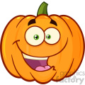 Happy Orange Pumpkin Vegetables Cartoon Emoji Face Character With Expression Vector Illustration Isolated On White Background
