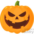 Grinning Evil Halloween Pumpkin Cartoon Emoji Face Character With Expression Vector Illustration Isolated On White Background