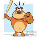 Royalty Free RF Clipart Illustration Angry Brown Bulldog Cartoon Mascot Character Holding A Bat And Pointing Vector Illustration With Background Isolated On White