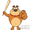 Royalty Free RF Clipart Illustration Angry Brown Bulldog Cartoon Mascot Character Holding A Bat And Pointing Vector Illustration Isolated On White Background