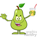 Green Pear Fruit With Leaf Cartoon Mascot Character Holding Up A Glass Of Juice And Gesturing Ok