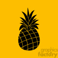 Royalty Free RF Clipart Illustration Pineapple Fruit Black And White Silhouette Simple Design Vector Illustration With Orange Background