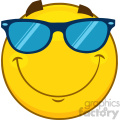 Royalty Free RF Clipart Illustration Smiling Yellow Cartoon Smiley Face Character With Sunglasses Vector Illustration Isolated On White Background