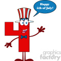 Happy Patriotic Red Number Four Cartoon Mascot Character Wearing A USA Hat Waving With Speech Bubble And Text Happy 4 Of July