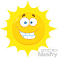 Royalty Free RF Clipart Illustration Funny Yellow Sun Cartoon Emoji Face Character With Smiling Expression Vector Illustration Isolated On White Background