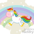 Clipart Illustration Cute Magic Unicorn Cartoon Mascot Character Running Around Rainbow With Clouds Vector Illustration With Background 1