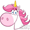 Clipart Illustration Smiling Magic Unicorn Head Cartoon Mascot Character Vector Illustration Isolated On White Background