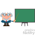 Professor Or Scientist Cartoon Character With Pointer Presenting On A Board Vector Illustration Flat Design Isolated On White Background