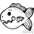 cartoon vector fish 001 bw