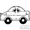 black and white cartoon car