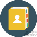contact book circle background vector flat icon