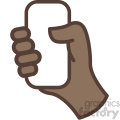 african american hand holding phone vector icon