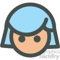 girl with short blue hair avatar vector icons