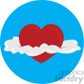 heart with clouds for valentines blue background