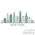 new york city skyline vector design with label