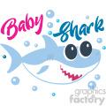 baby girl shark typography design