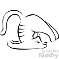 black and white cartoon cat doing yoga plow pose vector