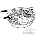 black white noodle bowl vector clipart