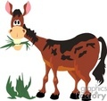 cartoon horse eating grass