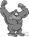 gray gorilla showing his muscles