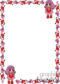 frame with little girls holding hearts in pink, red and purple